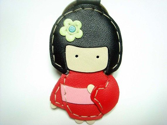 Sakura the Geisha Doll leather keychain  Red  by leatherprince, $21.90