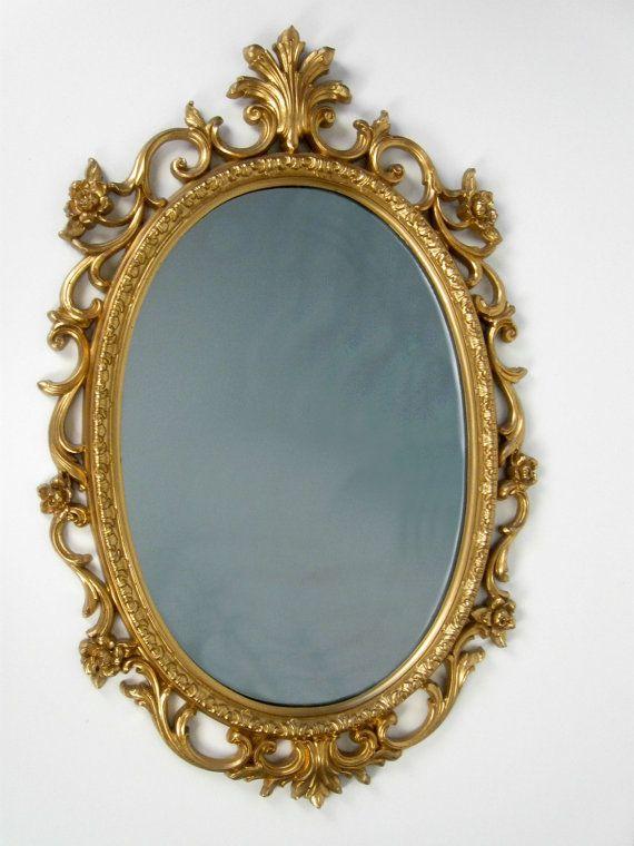 Vintage Baroque Roses Large Gold Oval Framed Mirror Oval