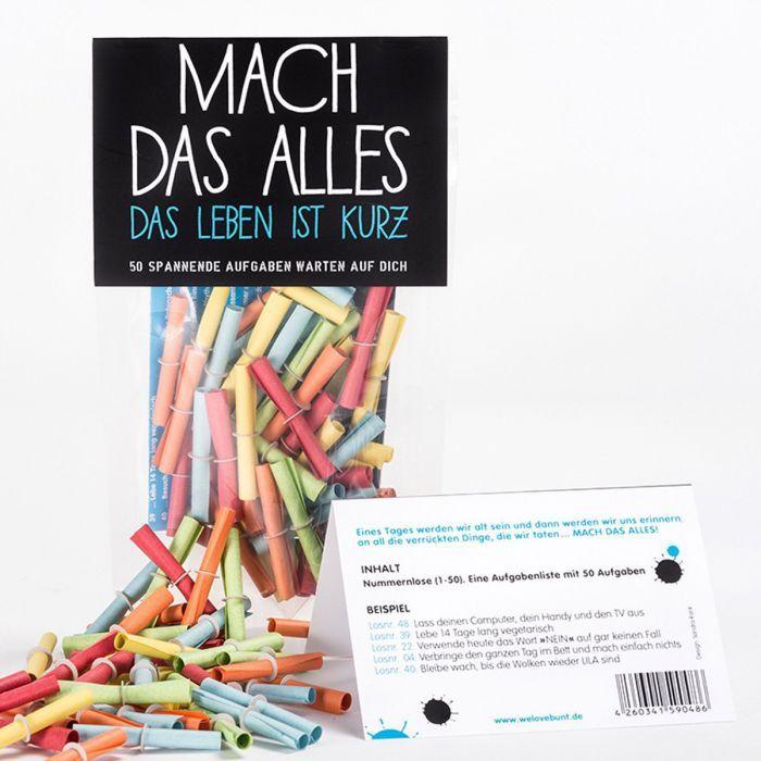 Diese Lose bringen Spaß und Spannung in die Bude! Vertreib Trübsal und Langeweile und arbeite die verrückte Aufgabenliste ab – allein oder mit Deinen Freunden. via: www.monsterzeug.de