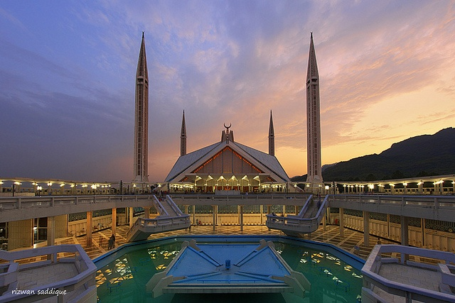 Shah Faisal Mosque is uniquely shaped like a tent and is in Islamabad, Pakistan.