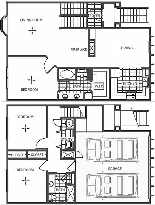 Three bedrooms two baths townhome with two car garage for Garage apartment floor plans 3 bedrooms