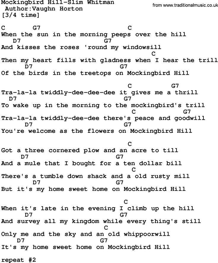 4 Chord Song Lyrics For Mockingbird Hill