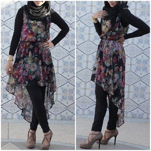 Hijabi fashion. I can so so this, and it still looks pretty <3
