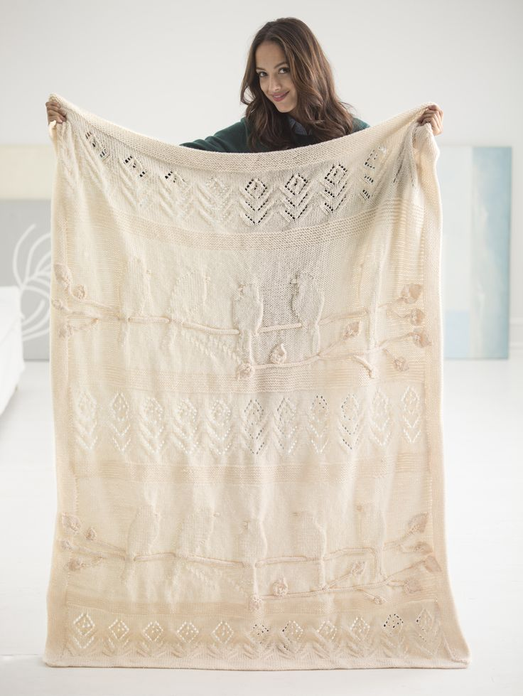 This beautiful Birdsong Afghan was designed by Nicky Epstein exclusively for Lion Brand! Make this heirloom blanket with 13 balls of Vanna's Choice (pictured in Fisherman) and size 8 knitting needles.