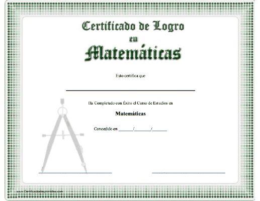 Certificado de Logro en Matemáticas para imprimir los certificados, gratis para descargar e imprimir