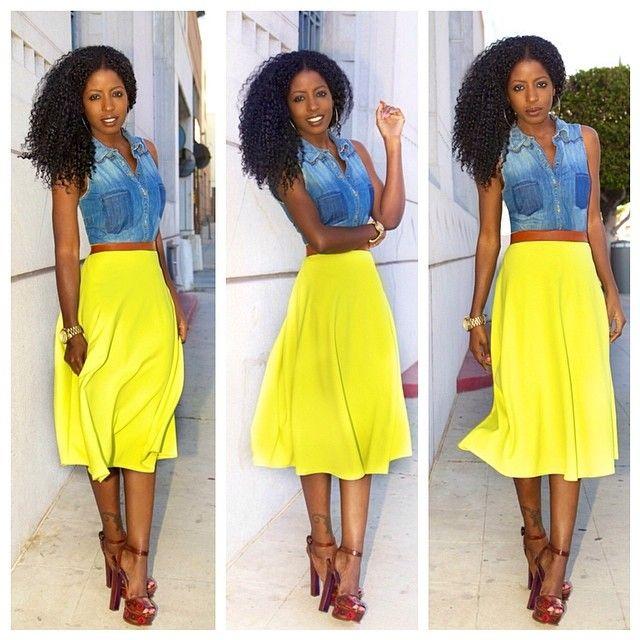 Sleeveless Denim + Neon Circle Skirt