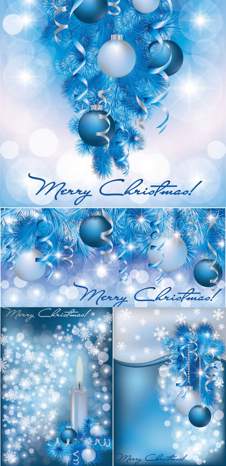 """Set of 4 vector blue snowy Christmas cards, decorated with fir tree needles, glass balls, serpentine and snowflakes for your designs. Format: EPS, Ai stock vector clip art and illustrations. Free for download. Set name: """"Blue snowy Christmas cards"""" for…"""