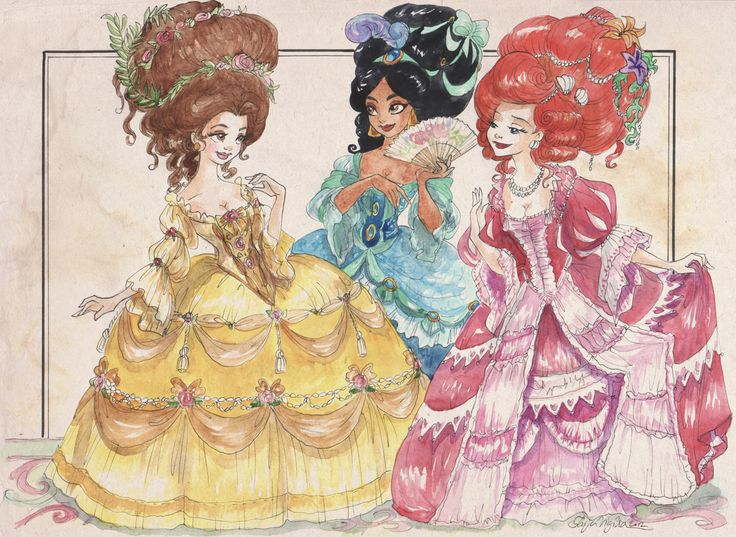 Princesses do the rococo. Inspired by late 1700s French fashion illustrations.