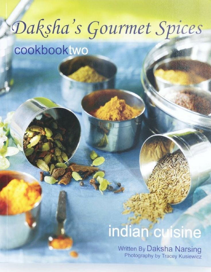 "Daksha's Gourmet Spices Cookbook II has an expanded selection of Meat, Poultry, Vegetarian and Lentil dishes such as the increasingly popular #ButterChicken, Biryani, Spicy Beef Stir Fry, Cauliflower Potato Curry (#AlooGobi), Okra Curry, Chana #Daal with Zucchini and many more. Also included are delicious appetizers such as Samosas and #Pakoras with Condiments, Salads, Desserts and Indian Flat Bread recipes (including the fail proof #Naanbread recipe ""Baked Naan"")."