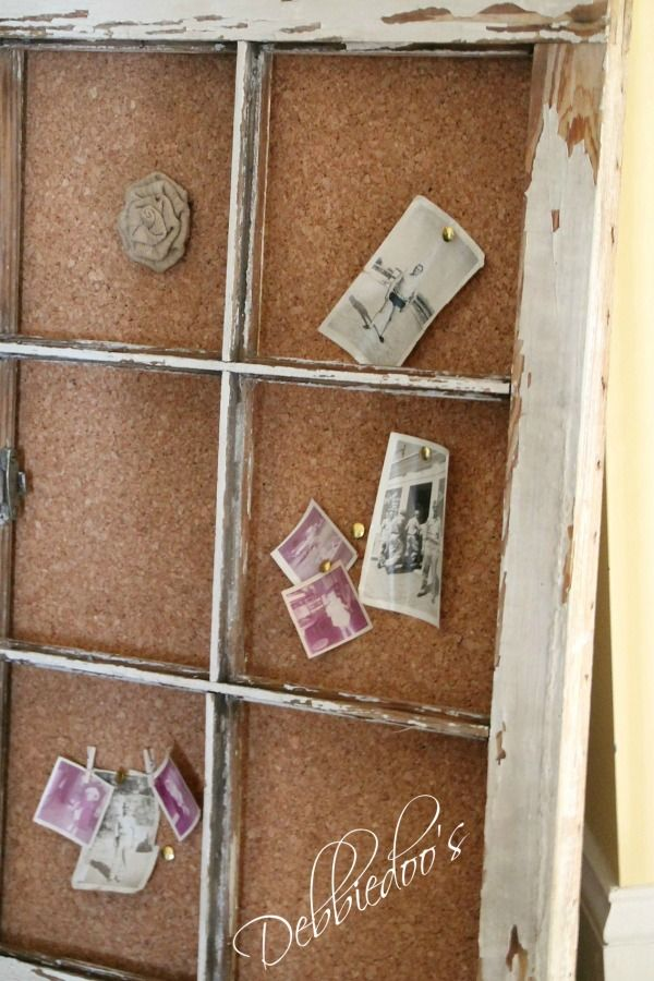 Memo Board...Old Window & Cork Board  But...Leave Some Glass in Panes for Dy Erase Board
