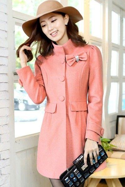 Standing Collar A-line Coat  #ShopSimple
