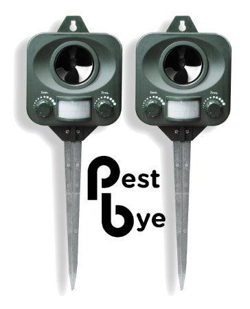 2 x PestBye Katzenvertreiber, Batteriebetrieben - Wetterfest - Ultraschall Katzen Vertreiber / Katzenschreck