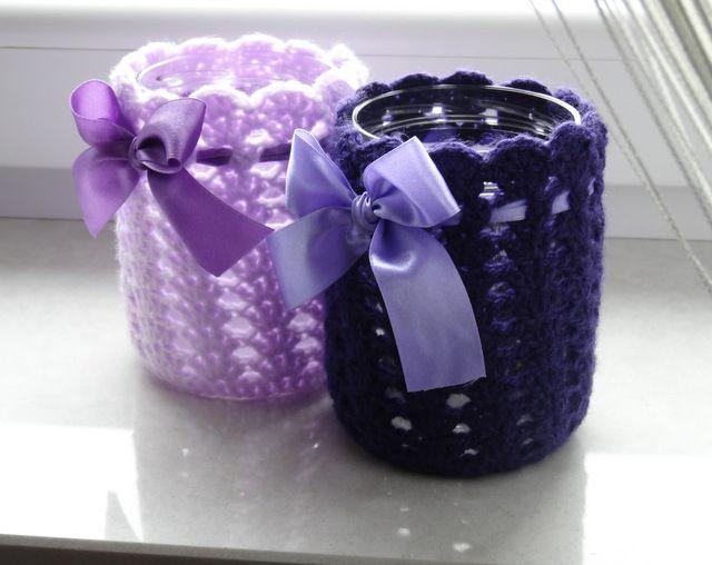 #Crochet jar cosies #violet