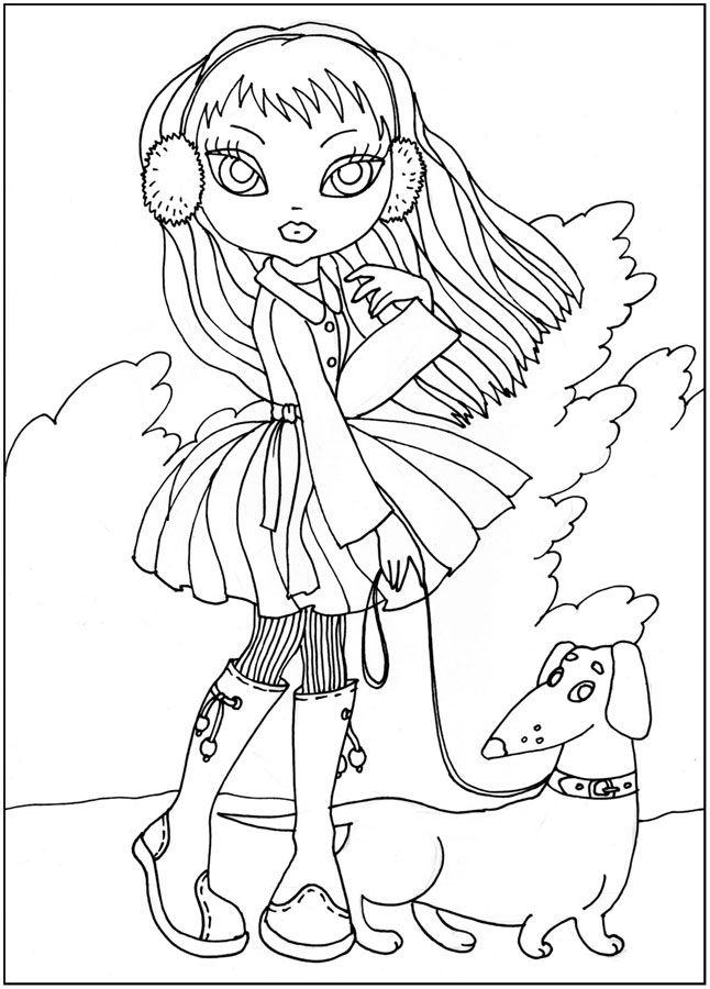 Раскраски девочка Девочкам, девочка, собака, прогулка, пес ...