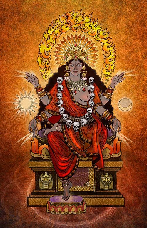 Bhairavi by Katlyn Breene Bhairavi is the personification of light and fire and represents the victory of the light. Hence she carries no weapons. She is the Warrior Goddess returning from her destruction of all demons or negative forces.