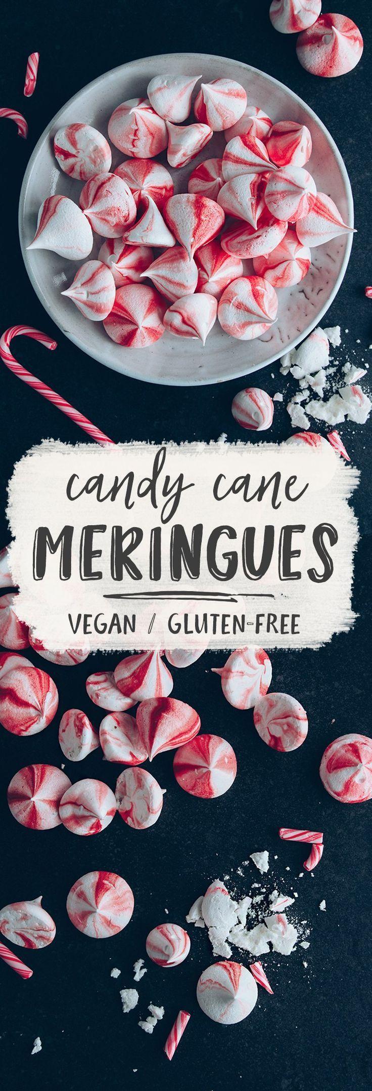 Vegan Candy Cane Meringue Kisses
