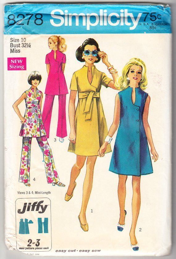 Vintage 1969 Simplicity 8278 Sewing Pattern Misses' Dress or Tunic