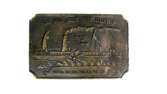 Clermont Steamboat Solid Brass Belt Buckle by TreasurePicker