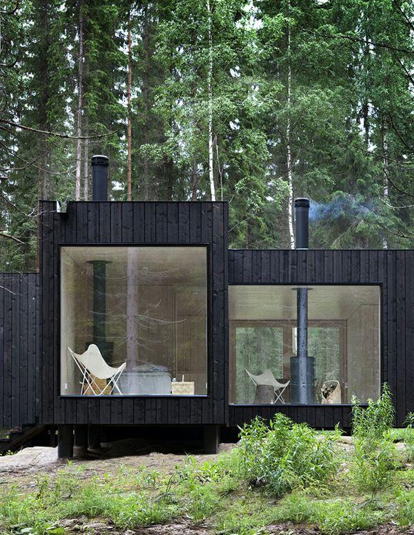 Kleiner dunkler cube architektur containerh user haus for Kleiner wohncontainer