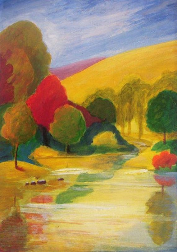 """Autumn Scenery - Original Acrylic Painting - abstract landscape painting on paper - matted 8""""x10"""""""