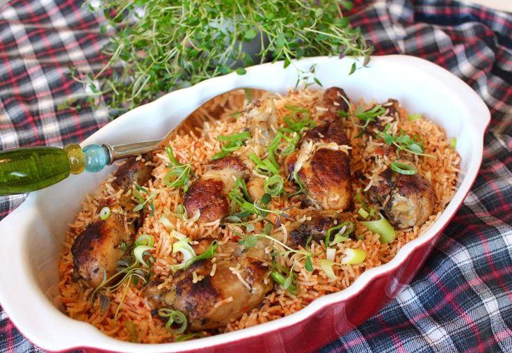 Kyckling och ris bakade i ugn