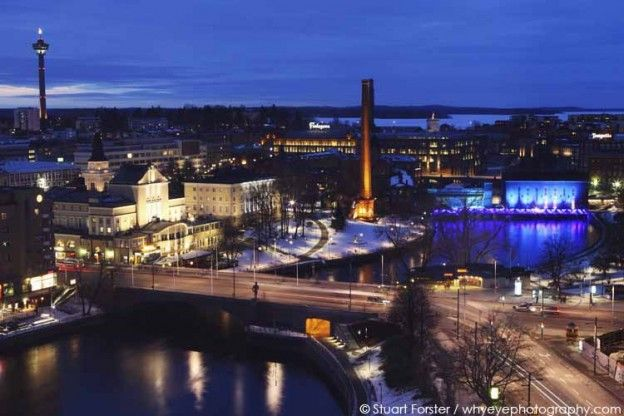 Tampere city centre, seen from a window in the Sokos Hotel Ilves. Photo by Stuart Forster.