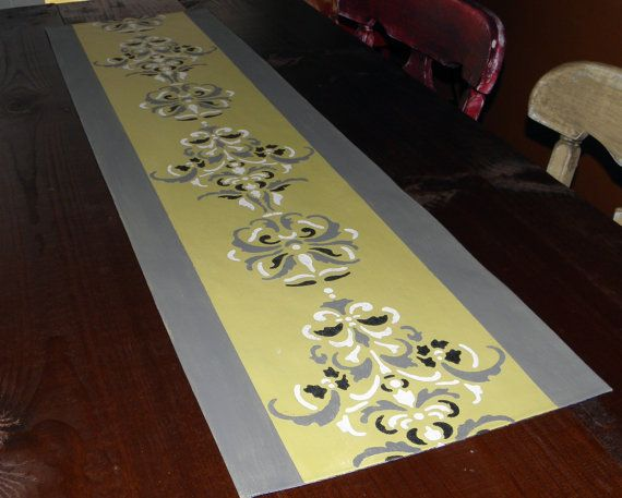 Grey And White Carpet Runner: Table Runner Yellow Gray White Black Elegant Scroll By