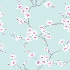 £8. Wilko Fresco April Blossom Tree Wallpaper. Co-ordinates perfectly with Wilko paint Vintage Duck Egg and Candy Cane. Roll length: 10.05m.