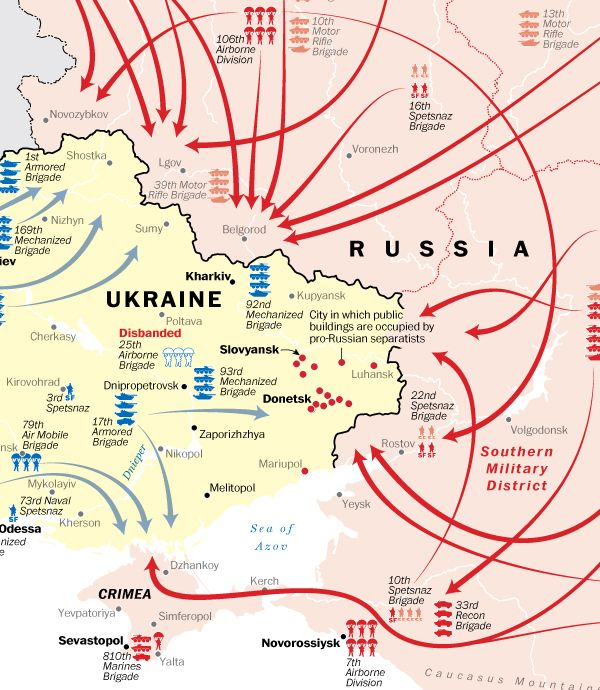 MAP How Ukraine And Russia Are Moving Toward War Ukraine - Crimea map geopolitics south russia