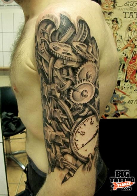 Biomechanical Clock Tattoos | ... Roll Tattoo - Glasgow - Biomechanical Tattoo | Big Tattoo Planet