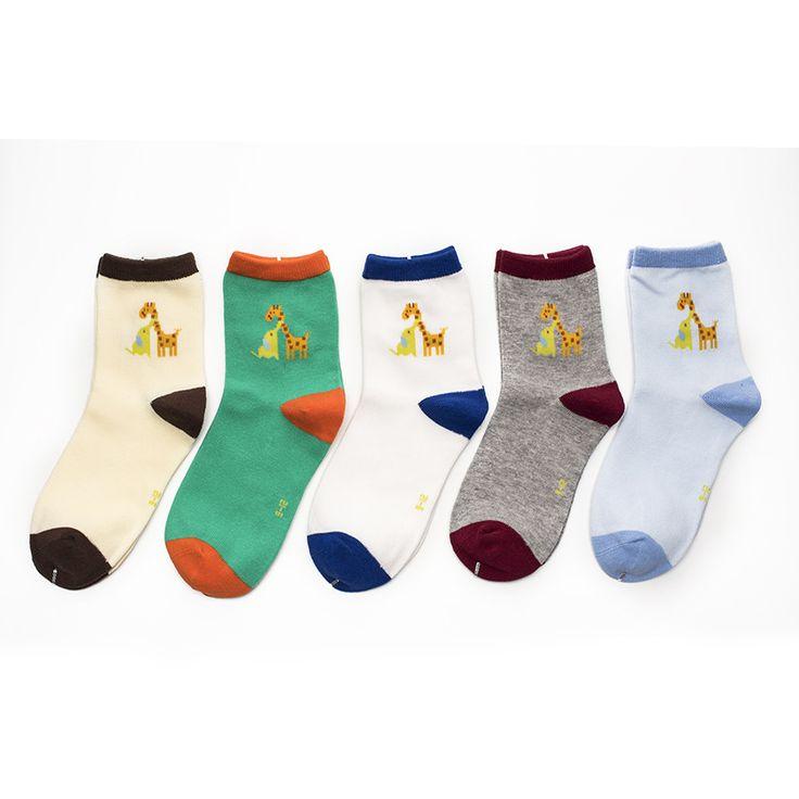 10 штук = 5 пар/лот 2016 Лето осень новый жирафы и слоны узорчатые носки мальчиков и девочек носки