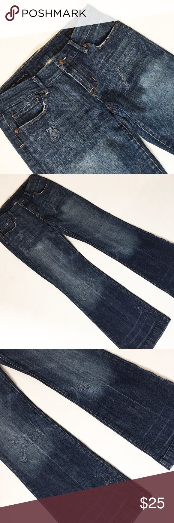 """Citizens for Humanity Dunaway Stretch Jeans Citizens for Humanity Dunaway #087 Stretch Low Waist Full Leg Jeans. Size 30. Some wear at hem, butt, and pockets --- some intentional wear/material distress. 8 1/4"""" rise, 41"""" length, 31"""" inseam. Garment measurements taken laying flat without stretching. Citizens of Humanity Jeans Flare & Wide Leg"""