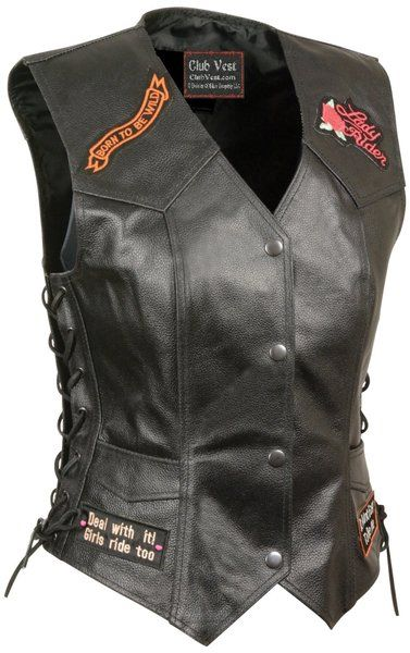 Womens 9 Patch Love To Ride Leather Motorcycle Bikers Vest