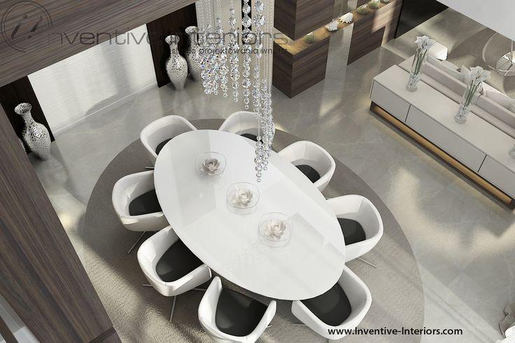 Projekt domu z widokiem Inventive Interiors - owalny stół w wysokiej jadalni