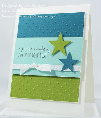 by Jen Sannes...Simple & Sincere.  Stampin' Up! SU: Colors Combos, Cards Ideas, Cute Cards, Birthday Cards, Simply Wonder, Simple Cards, Paper Crafts, Stars Cards, Boys Cards