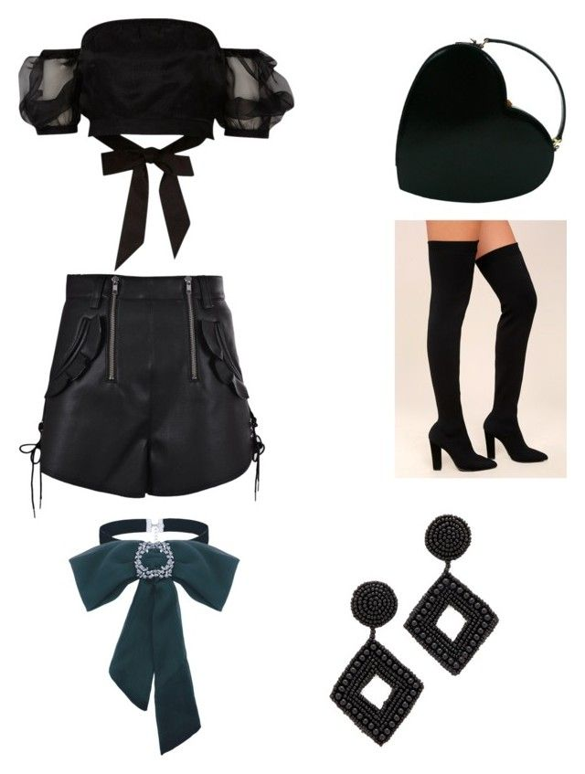 """""""Untitled #150"""" by denisapurple on Polyvore featuring River Island, Bamboo, Moschino, self-portrait and Kenneth Jay Lane"""