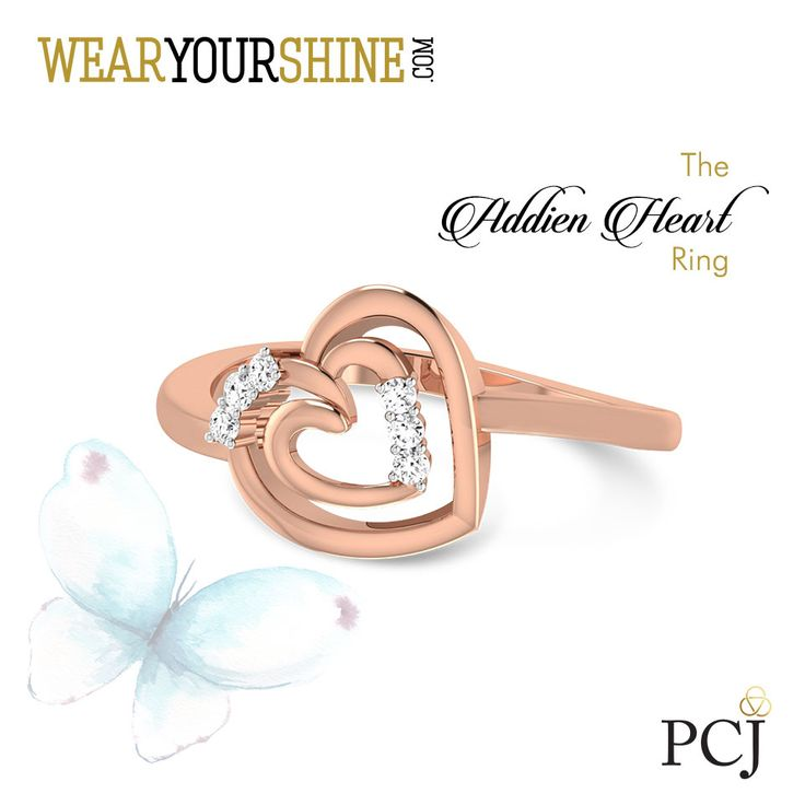 Profess your love for her with this charming and elegant heart-shaped ring. 'The Addien Heart Ring' #Rings #HeartShapedRings #Love #TheAddienHeartRing #Jewellery #jewelry #InstaJewellery #PCJeweller #WearYourShine