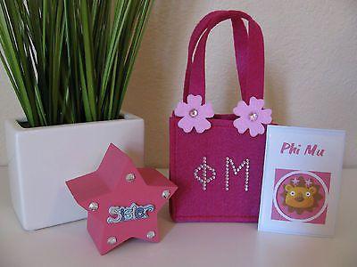 Phi Mu Mini Tote Bag, Spirit Sign & Trinket Box Set - Back to School 2015!