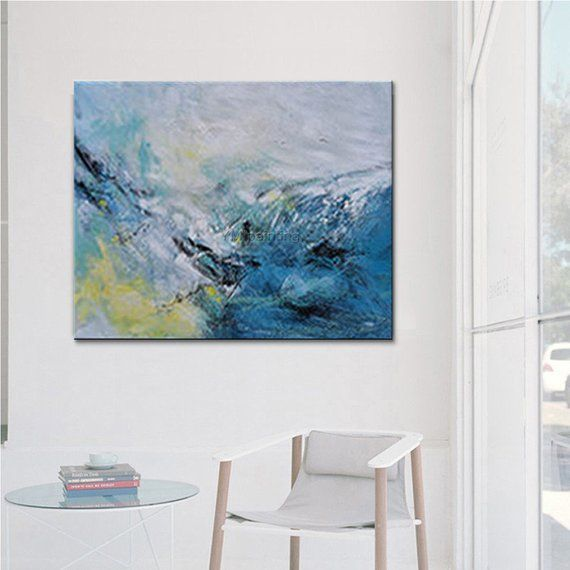 Abstract painting acrylic sea wave blue painting on canvas original Painting large painting Wall Pictures hand painted cuadros abstractos