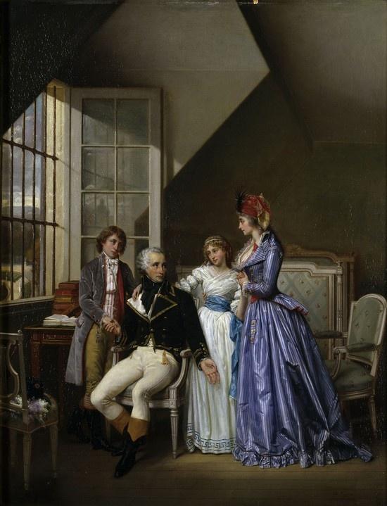 Josephine visiting her husband Alexandre de Beauharnais in prison in the1794. - Alexandre var officer under Revolutionskrigene, men blev anklaget for dårlig hærledelse og henrettet i 1794. Josephine blev også fængslet i 1794 under den store Revolution, men slap fri efter at Robespierre blev væltet. Dermed stoppede den mest blodige del af Revolutionen. Josephine var fattig, men havde sin titel i behold efter sin tidligere mand, hvorfor hun var aktiv i de øverste sociale lag i Paris. Hun blev…