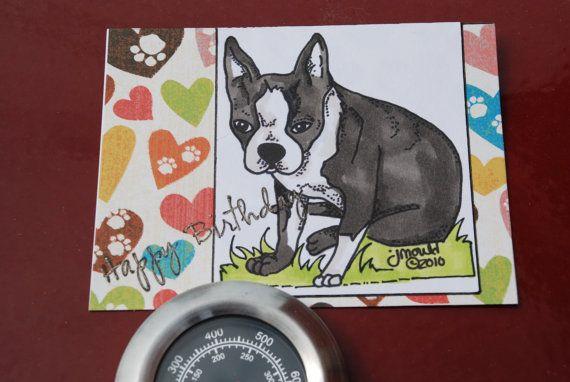 Happy Birthday Handmade Boston Terrier Dog Rescue Puppy Card