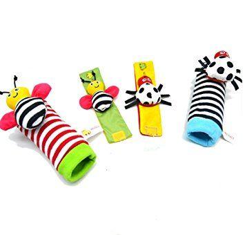 Youvinson 4pcs del traqueteo del bebé Juguetes animal lindo de la muñeca infantil sonajero y buscador del pie del Desarrollo Set suaves de los juguetes para los niños