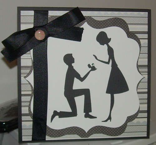 engagement or wedding card. uses Cricut Sweethearts and Songbird (for label)