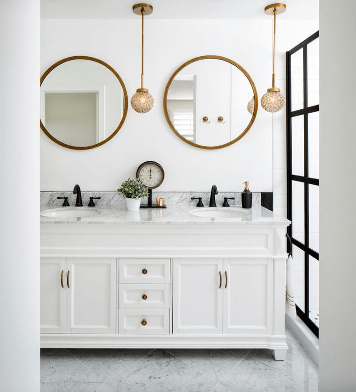 Love The Mixed Metals Used In Vanity Mirrors And Faucets This Bathroom Were Brushed For A Mor Understated Look
