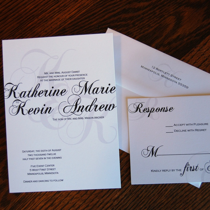 Calligraphy Design Custom Wedding Invitations 195 via