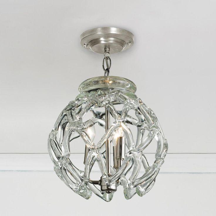 crystal web globe pendant light