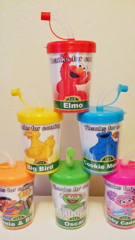 Sesame Street Party Favors! SESAME STREET PERSONALIZED PARTY FAVOR CUPS, ELMO, BIG BIRD COOKIE MONSTER OSCAR ABBY CADABBY THE COUNT BIRTHDAY PARTY TREAT CUPS SET OF 6