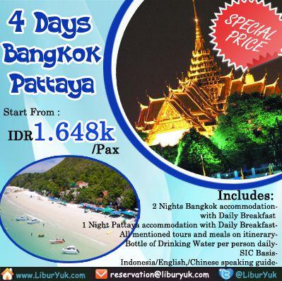Kini telah ada paket liburan 4 hari #Bangkok - #Pattaya, yuk kita nikmati keindahan dan kemeriahan kehidupan malam Pattaya sekarang juga dan dapatkan diskon spesialnya !  Dapatkan Spesial Paket tersebut dari #LiburYuk http://liburyuk.com/promotional-package/book/622113212/4d3n-bangkok-%96-pattaya #jalan2 #holiday #Thailand #AbbeyTravel
