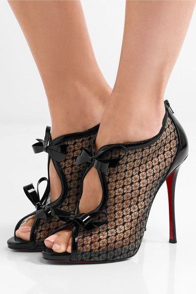 Christian Louboutin - Empiralta 120 Bow-embellished Embroidered Mesh Sandals - Black - IT34.5
