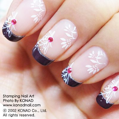 pretty: Stamps Nails, Nails Art, French Manicures, Nails Design, Konad Stamps, Butterflies Nails, Konad Nails, Colors Black, Black French Tips